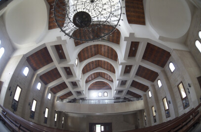 Installation of Vicoustic Wave Wood acoustic panels in St Gabriel Church, Ajaltoun, Lebanon