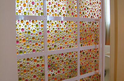 Soft Gem Panels on Partition Door