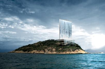 Artificial waterfall in Rio de Janeiro