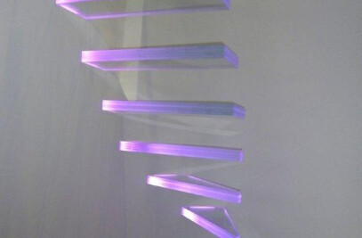 Trescalini - Aero glass staircase with led light system (lighting glass staircase)