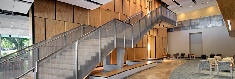 Staircase in West Village Commons at Towson University