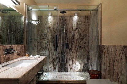 Bathroom made of marble Palissandro