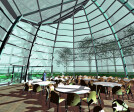 Glass pavilion interior