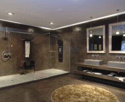 Detail double showers and double sinks. Microcemento Edfan by Barasona