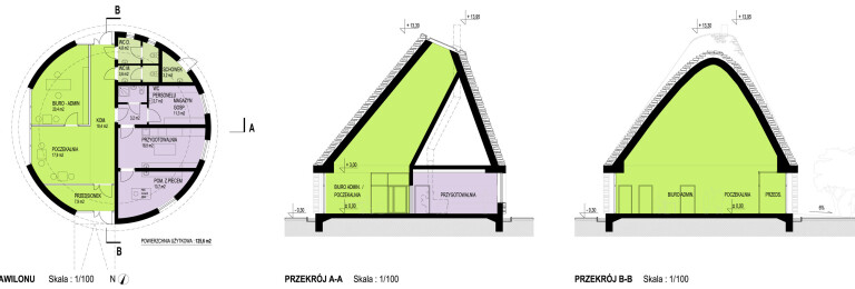 Sections of the pavillion