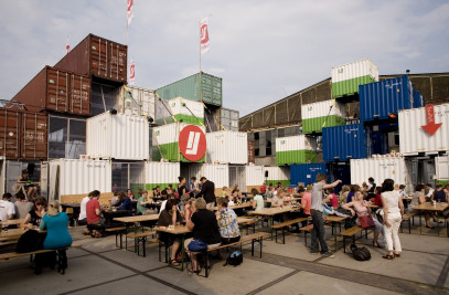 Temporary shipping container city