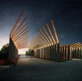 Ryhan villa complex 's gate in Mazandaran province