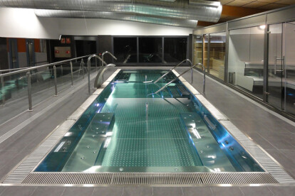 stainless steel pool, sauna and steam bath