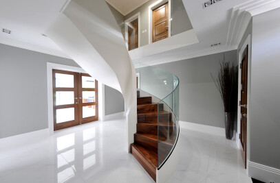 Kersey House - Bespoke Helical Staircase with Glass Balustrade