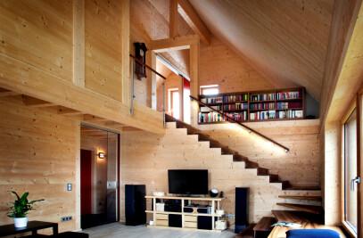 High-tech wooden house