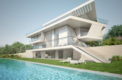Architectural rendering of a single house in Barcelona