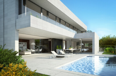 Architectural rendering of a single house in Barcelona II