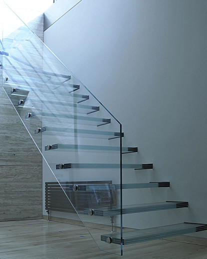 Ledborough - Straight Glass Staircase, Glass Treads, Glass Balustrade