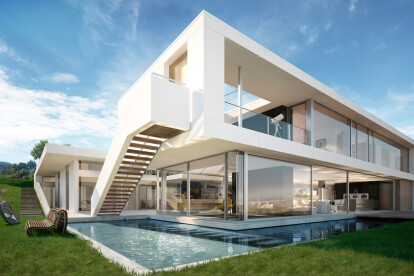 Architectural visualization of a luxury house