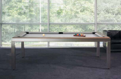 Brushed stainless steel table