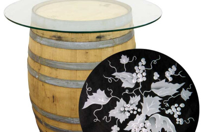 Wine Barrel Table with Etched Glass Top