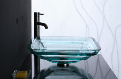 Clear Tiered Square Glass Vessel