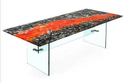 Organic Series Dining Table with Glass Base