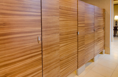 Wood Veneer Restroom Partition