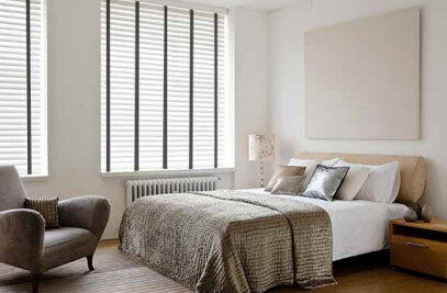 White Painted Wooden Blinds with Wide Slats
