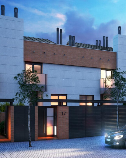 Architectural rendering of townhouses in Madrid
