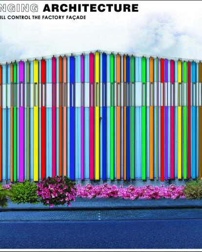 Factory facade wall design entry