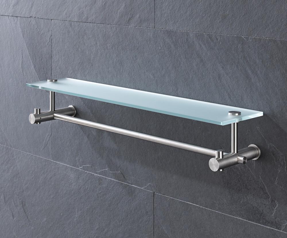 Towel bar with glass shelf