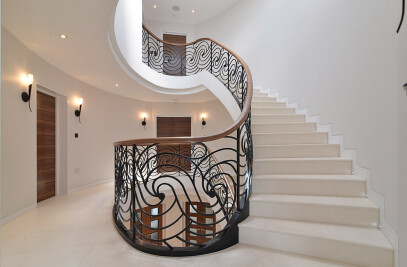 California Lane - Bespoke Elliptical Staircase with Laser Cut Balustrade