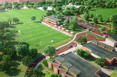 Aerial view of the project to extend a School in Perth