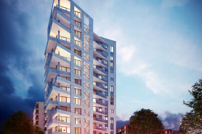 Architectural visualization of a residential tower