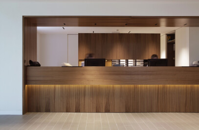American walnut brings a touch of class to Swiss private clinic's main lobby