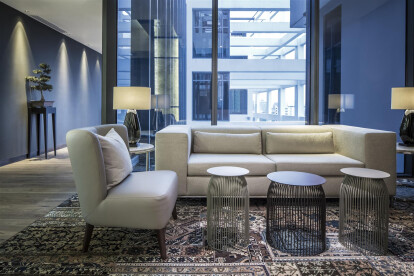 Swirls of colour from custom-made carpets, paired with backlit wall panels and meticulously selected furniture, give the public spaces a fresh look