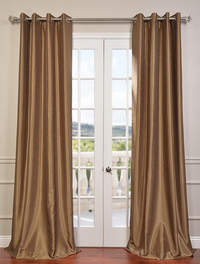 Flax Gold Grommet Blackout Vintage Textured Dupioni Silk Curtain
