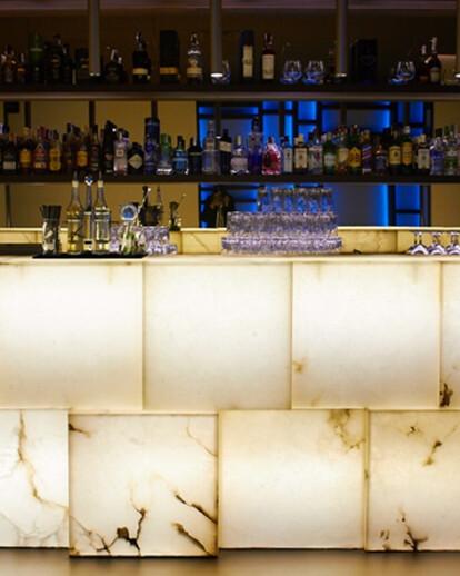 Backlit Alabaster cube bar