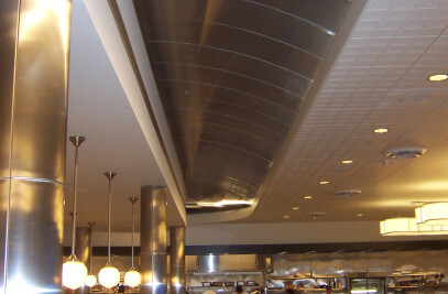 Curved Stainless Steel Ceiling in Casino Restaurant