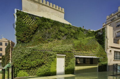 A cafeteria within a green wall