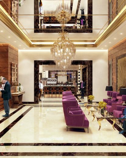 interior design of hotel reception rooms