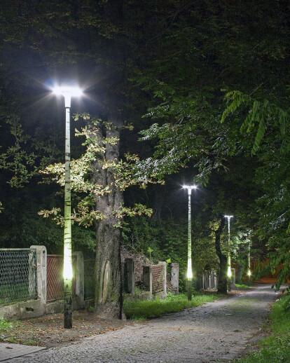 Composite light poles in Chorzów recreational park.