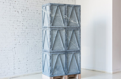 Relief Stone Cabinet - Six Door
