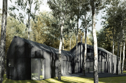 all-black house
