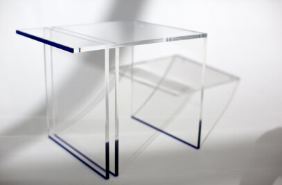 Bladed Blue Side Table