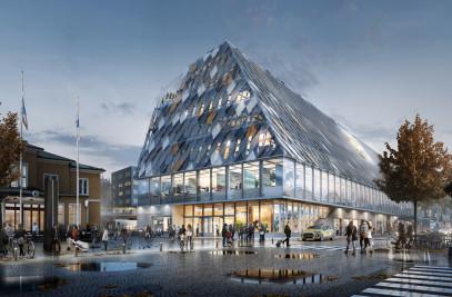 New station and City Hall in Växjö