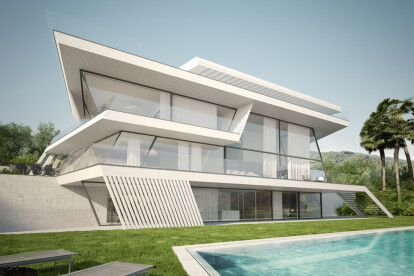 Architectural visualizations of a single house in Barcelona