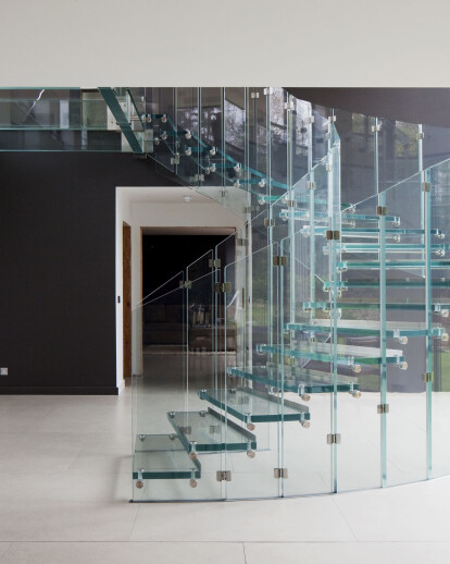 Glass stairs, glass landing and entrance portal + glass facade for luxury project, Surrey, UK