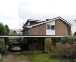 Approach and entrance to a 1960s home in Haslemere, Surrey