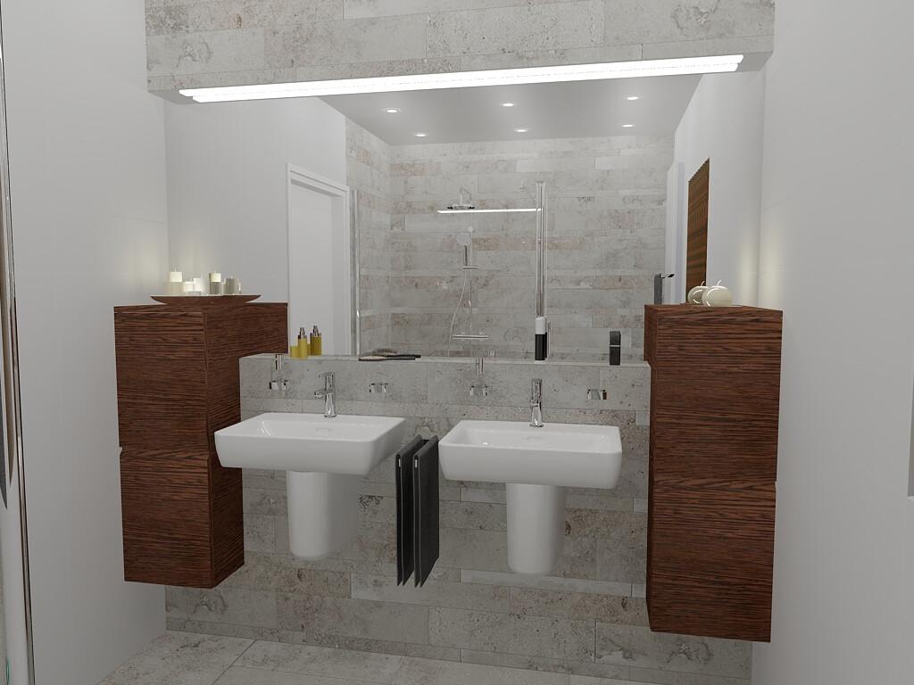 Voorbeeld een kleine badkamer met grote tegels mooie badkamer