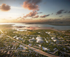 This bird's eye view shows Google's proposed new campus and its surroundings.