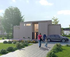 Exterior visualization  Modern Scandinavian houses.
