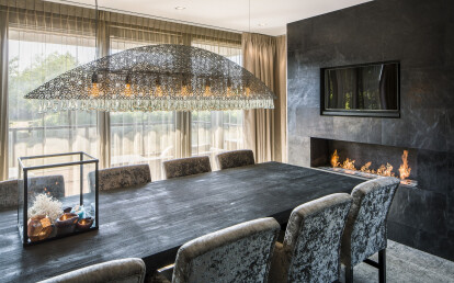 Fireplace covered in leather