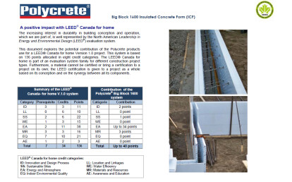Polycrete® Big Block 1600 Insulated Concrete Form (ICF) A positive impact with LEED® Canada-NC